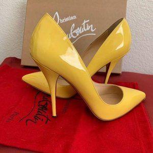 Louboutin Batignolle Yellow Patent Pump 8.5
